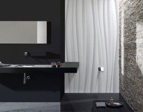 BIAŁE FALE - panel szklany do łazienki