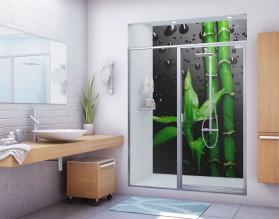 BAMBUS W DESZCZU - panel szklany do łazienki