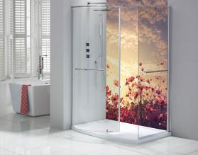 PASTELOWA ŁĄKA - panel szklany do łazienki