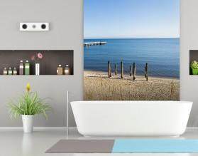 MORSKIE MOLE - panel szklany do łazienki