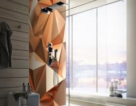 MIEDZIANA ABSTRAKCJA - panel szklany do łazienki