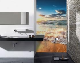 SŁONECZNA PLAŻA - panel szklany do łazienki
