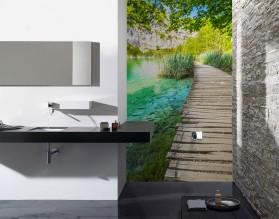 POMOST W TURKUSACH - panel szklany do łazienki