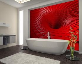CZERWONY WIR 3D - panel szklany do łazienki