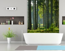 SŁONECZNY LAS - panel szklany do łazienki