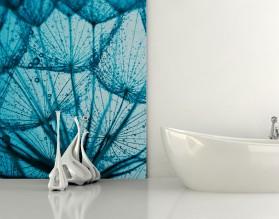 BŁĘKITNE DMUCHAWCE - panel szklany do łazienki