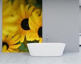 SŁONECZNIKI - panel szklany do łazienki