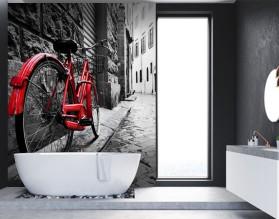 CZERWONY ROWER - szklany dekor do łazienki
