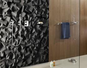 CZARNA STRUKTURA - panel szklany do łazienki
