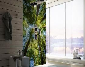 KORONY DRZEW - panel szklany do łazienki