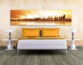 ZMIERZCH NAD SEATTLE - panorama - obraz na płótnie