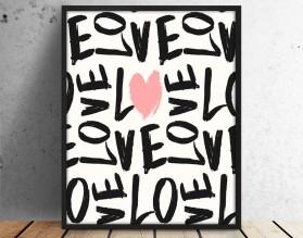 LOVE Z SERCEM - plakat typograficzny