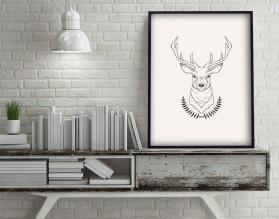 SKANDYNAWSKI JELEŃ - plakat minimalistyczny