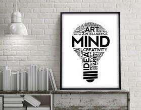 ŻARÓWKA INSPIRACJI - plakat typograficzny, motywacyjny