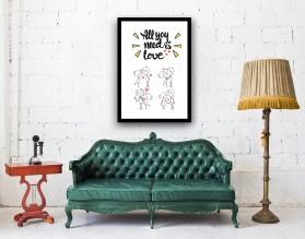 LOVE CARTOON - plakat miłosny