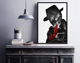 NOIR LADY IN RED - designerski plakat w ramie