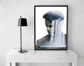 FLOWING THOUGHTS - designerski plakat w ramie