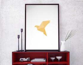 ORIGAMI BIRD 02 - designerski plakat w ramie