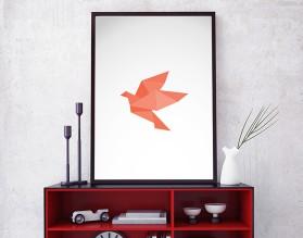 ORIGAMI BIRD 03 - nowoczesny plakat w ramie