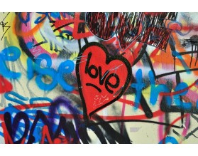 GRAFFITOWE LOVE - obraz na szkle - grafika