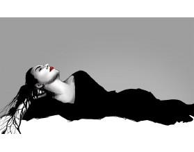 BLACK DRESS - nowoczesny plakat w ramie - grafika