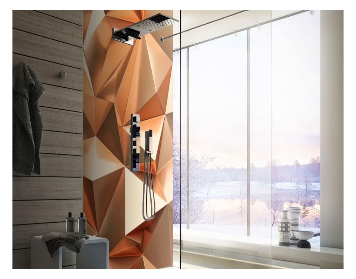 Miedziana Abstrakcja Panel Szklany Na Wymiar Do łazienki