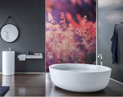 RÓŻOWE KWIATY - panel szklany do łazienki