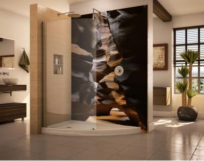KLIMATYCZNA JASKINIA - panel szklany do łazienki