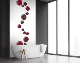 KOLOROWE KAMIENIE - panel szklany do łazienki