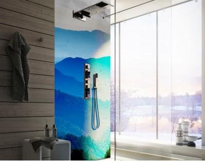 ODCIENIE BŁĘKITU - panel szklany do łazienki