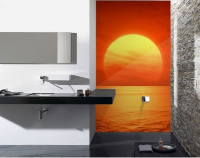 ZACHÓD SŁOŃCA - panel szklany do łazienki