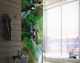 WODOSPAD W DŻUNGLI - panel szklany do łazienki