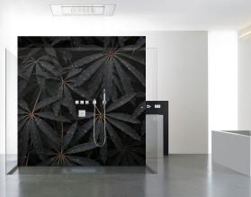 CZARNE LIŚCIE - panel szklany do łazienki