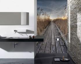 POMOST NAD JEZIOREM - panel szklany do łazienki