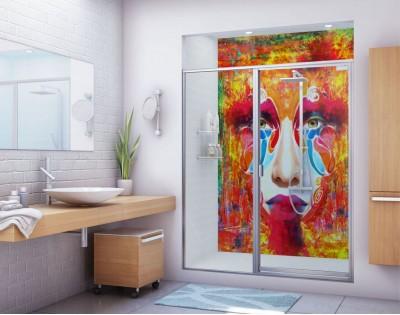 MALOWANA TWARZ - panel szklany do łazienki