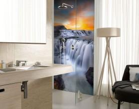 GÓRSKI WODOSPAD - panel szklany do łazienki