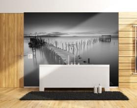 POMOST CZARNO-BIAŁY - panel szklany do łazienki