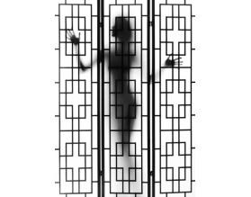 CIEŃ KOBIETY - panel szklany do łazienki - grafika