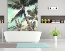 PASTELOWE PALMY - panel szklany do łazienki