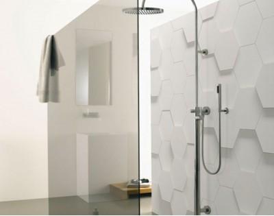 BIAŁE SZEŚCIANY 3D - panel szklany do łazienki