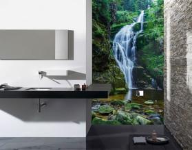 TROPIKALNY WODOSPAD - panel szklany do łazienki