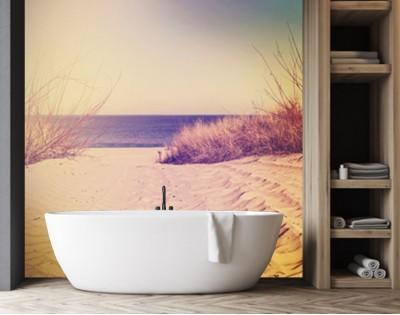PASTELOWA PLAŻA - panel szklany do łazienki