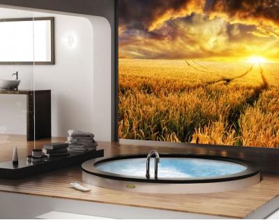 ŁĄKA O ZACHODZIE SŁOŃCA - panel szklany do łazienki