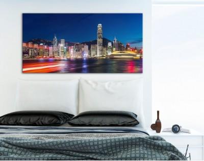 HONG KONG NOCĄ - obraz na szkle
