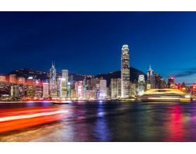 HONG KONG NOCĄ - obraz na szkle - grafika