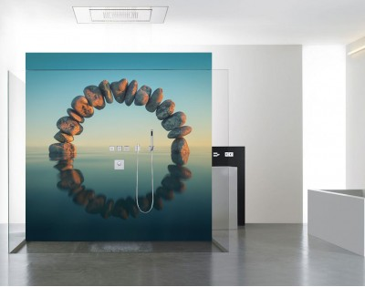 OKRĄG Z KAMIENI - panel szklany do łazienki