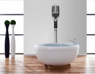 MIKROFON - szklany  dekor do łazienki