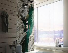 TURKUSOWE ŹRÓDŁO - panel szklany do łazienki