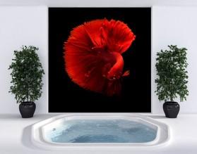 CZERWONA RYBKA - dekor szklany do łazienki