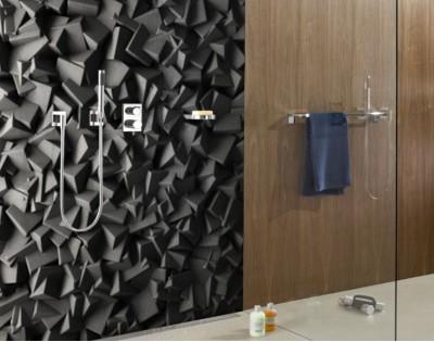 Czarna Struktura Panel Szklany Na Wymiar Do łazienki